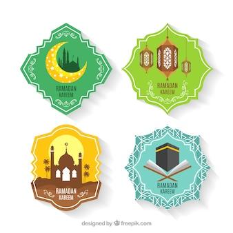 Verzameling van kleurrijke ramadan labels