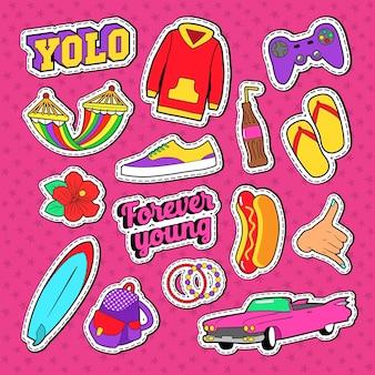 Verzameling van kleurrijke stickers