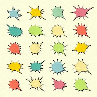Verzameling van kleurrijke tekstballonnen in pop-art stijl. elementen van ontwerpstrippagina's. set van gedachte of communicatie bubbels