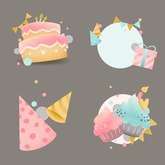 Verzameling van kleurrijke verjaardag badge vectoren
