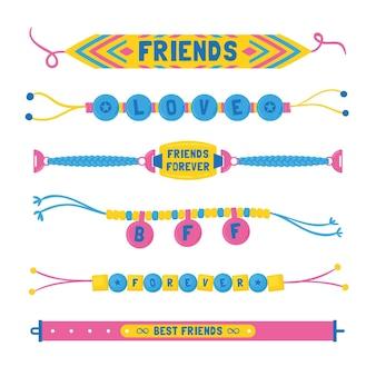 Verzameling van kleurrijke vriendschapsband