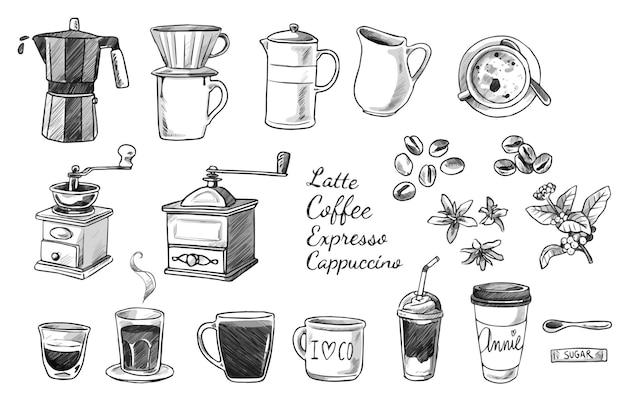 Verzameling van koffie doodles