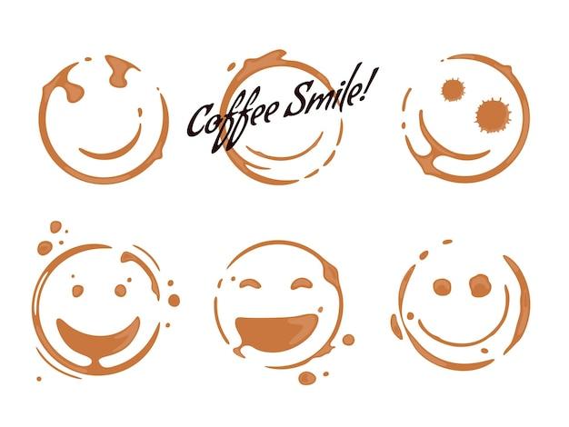 Verzameling van koffiekopjes ronde vlekken die glimlachen en lachende gezichten vormen goed humeur concept