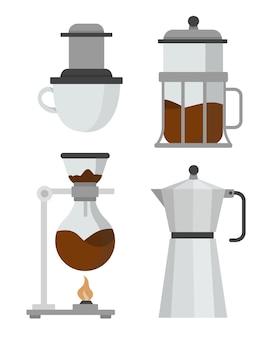 Verzameling van koffiezetmethoden in plat ontwerp
