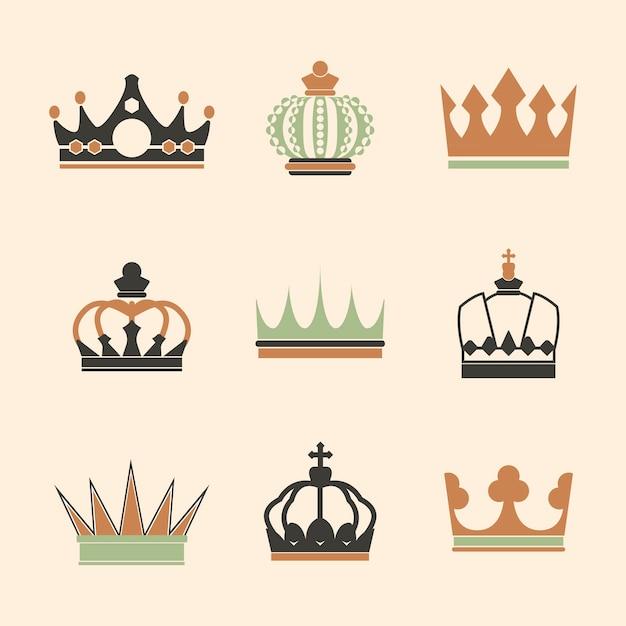 Verzameling van koninklijke kroon vectoren