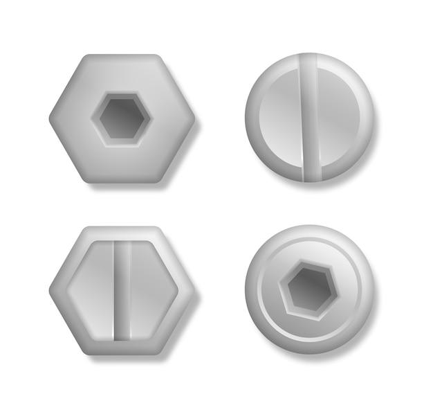 Verzameling van koppen van bouten