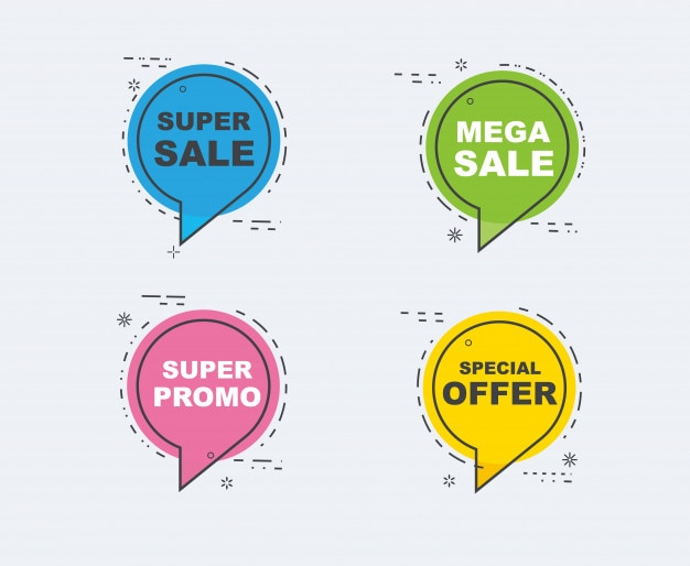 Verzameling van korting banners voor verkoop. kleur volledig plat ontwerp.