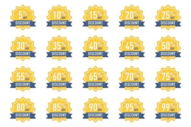 Verzameling van kortingsbadges percentage tag voor reclame