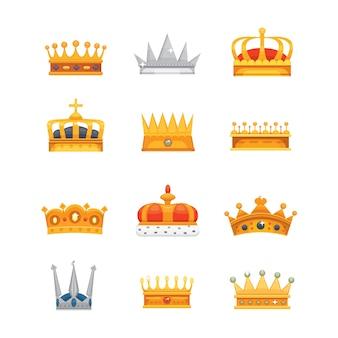 Verzameling van kroonpictogrammen voor winnaars, kampioenen, leiderschap. koninklijke koning, koningin, prinsessenkronen.