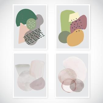 Verzameling van kunst aan de muur met beschilderde ontwerpen in minimale stijl