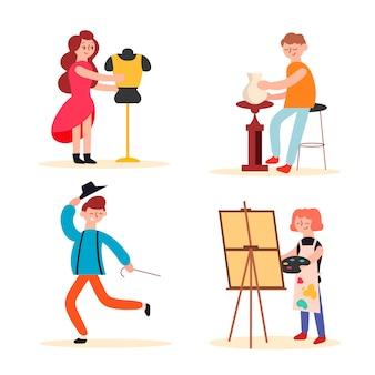 Verzameling van kunstenaars op het werk