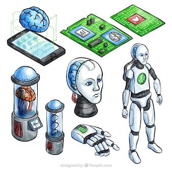 Verzameling van kunstmatige intelligentie elementen in isometrische stijl
