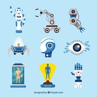 Verzameling van kunstmatige intelligentie elementen in vlakke stijl