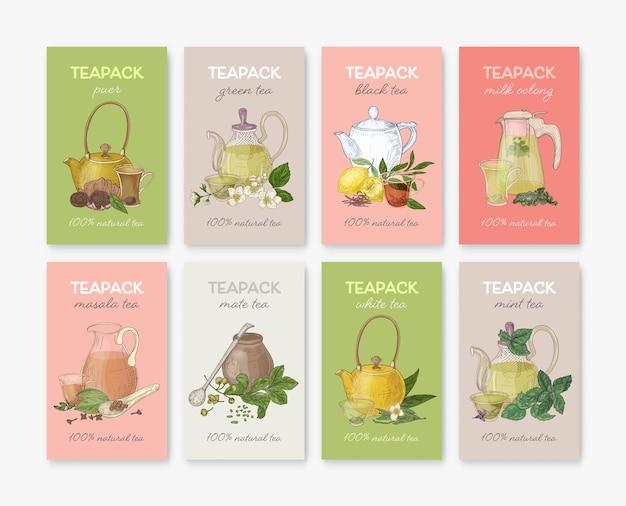 Verzameling van labels of tags met verschillende soorten thee - zwart, groen, wit, masala, mate, puer, munt, melk oolong. set handgetekende gearomatiseerde dranken of natuurlijke dranken. vector illustratie.