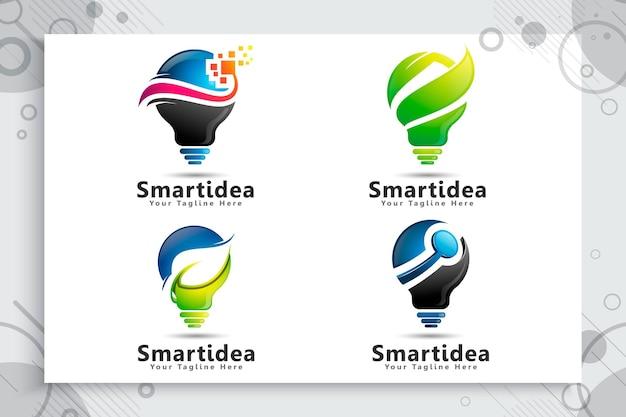 Verzameling van lamp energie groen slim idee-logo instellen