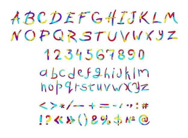 Verzameling van latijnse letters, cijfers en leestekens