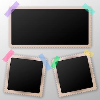 Verzameling van lege fotolijsten met transparante schaduweffecten. plakband.
