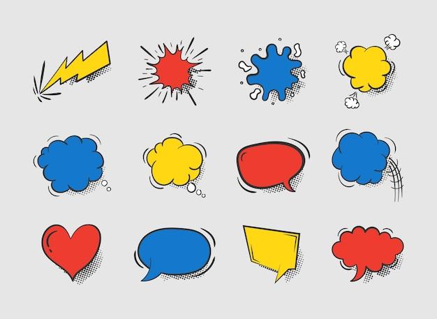 Verzameling van lege komische tekstballonnen geïsoleerd op een witte achtergrond. lege dialoogwolken voor stripboek, banners voor sociale media, promotiemateriaal. pop-art stijl. .