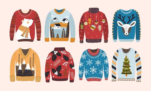 Verzameling van lelijke kerstsweaters