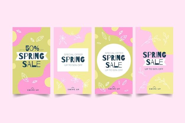 Verzameling van lente instagram-verhalen