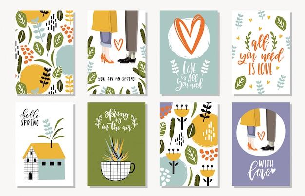 Verzameling van lente kaarten.