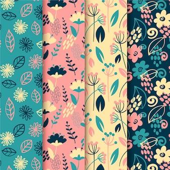Verzameling van lentebloemen en bladeren patroon