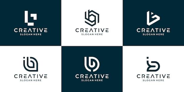 Verzameling van letter b met abstract ontwerp voor bedrijven