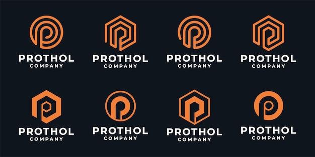 Verzameling van letter p embleemontwerp pictogram
