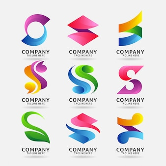 Verzameling van letter s modern logo-ontwerp