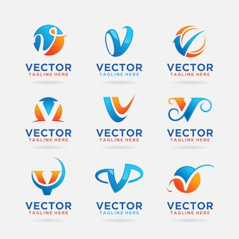 Verzameling van letter v logo-ontwerp