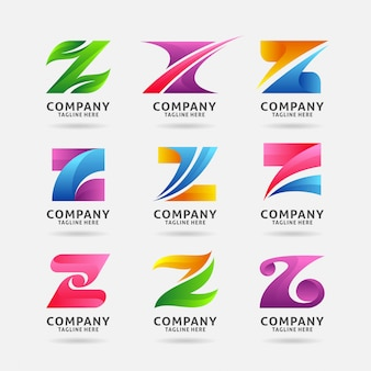 Verzameling van letter z modern logo-ontwerp