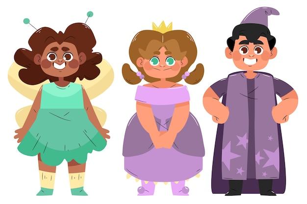 Verzameling van leuke cartoon carnaval kinderkostuums