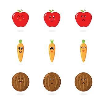 Verzameling van leuke fruitkarakters