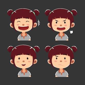 Verzameling van leuke gezichten uitdrukkingen kind avatars