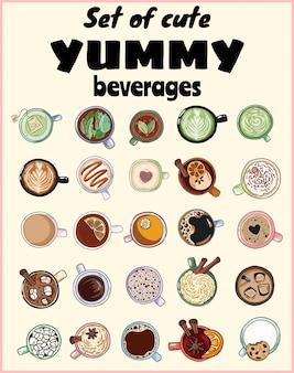 Verzameling van leuke lekkere drankjes. kopjes thee en koffie