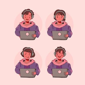 Verzameling van leuke mensen met computer