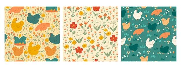 Verzameling van leuke naadloze patronen met kippen en bloemen.