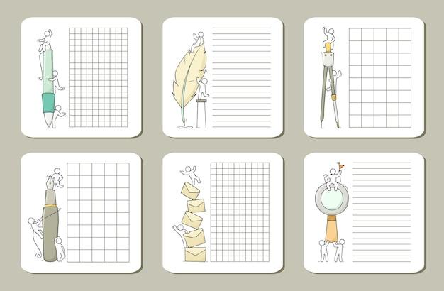 Verzameling van leuke notities voor kaarten, stickers, tags met mensen.