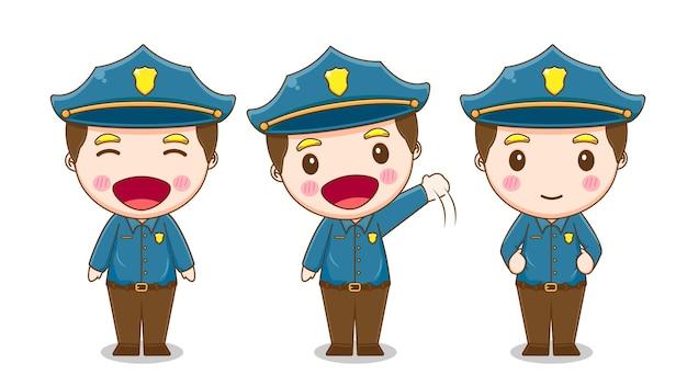 Verzameling van leuke politie geïsoleerd op wit