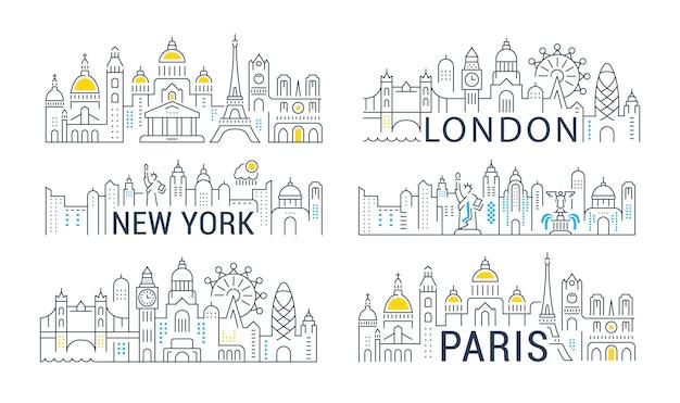 Verzameling van lineaire banners van parijs, londen en new york. Premium Vector