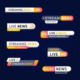 Verzameling van live stream nieuws banners