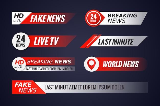 Verzameling van live streams nieuwsbanners