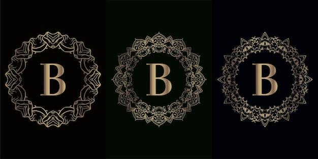 Verzameling van logo eerste b met luxe mandala-ornament of bloem