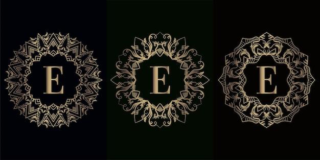 Verzameling van logo eerste e met luxe mandala ornament frame mandala