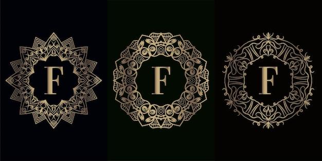 Verzameling van logo eerste f met luxe mandala ornament frame ornament