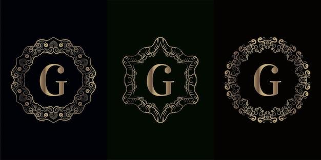 Verzameling van logo eerste g met luxe mandala ornament frame