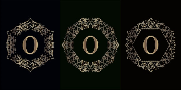 Verzameling van logo eerste o met luxe mandala ornament frame