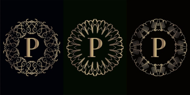 Verzameling van logo eerste p met luxe mandala ornament frame