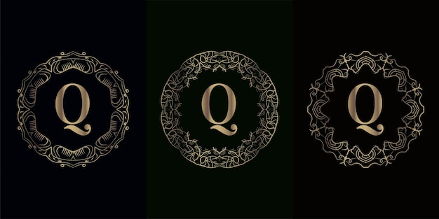 Verzameling van logo eerste q met luxe mandala ornament frame