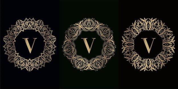 Verzameling van logo eerste v met luxe mandala ornament frame